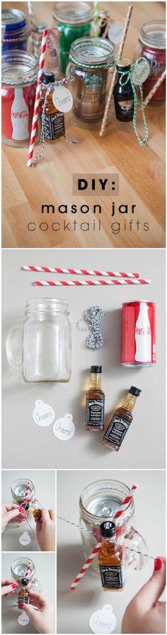 DIY Easy Mason Jar Cocktail Gifts - 160+ DIY Mason Jar Crafts and Gift Ideas - DIY & Crafts
