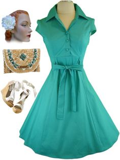 145ad6c88ff 50s Style Aqua Soda Fountain Lucy Pinup Day Dress
