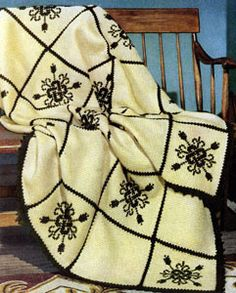 Fireside Formality afghan crochet pattern from Afghans, originally published by Spool Cotton Co, Book No. 239, in 1948.