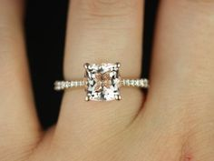 Rose Gold Cushion Morganite and Diamond Cathedral Ring