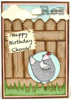 "Happy birthday card featuring ""Hey Chick"" sale-a-bration stamp set ad hardwood background stamp #stampinup #heychick #hardwood #birthdaycard #upandawaythinlets #bigshot #saleabration"
