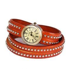 Reloj pulsera de Esencia Femenina, cuero naranja
