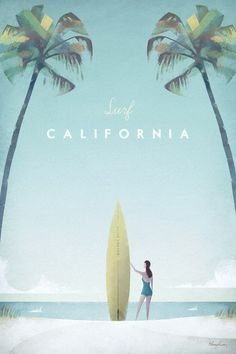 California Vintage Surf Poster | TRAVEL POSTER Co.