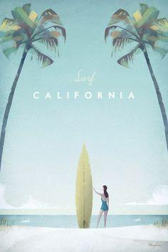 California Vintage Surf Poster | TRAVEL POSTER Co.