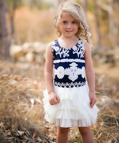 Loving this Navy & White Mont Blanc Tutu Dress on #zulily! #zulilyfinds