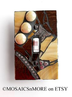 Bronze and Tan  -  Handmade Single Mosaic Light Switch Cover Wall Plate