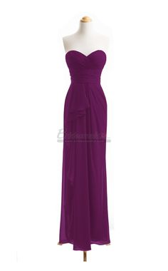 #bridesmaid Sweetheart Neck Long Chiffon Grape Bridesmaid Dress BDS-CA050