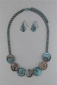 Nautical Button Necklace Set in Patina ~ Measurements: Earrings: 1 inch   Necklace: 18-21 inches Materials: aged metal Price: $12.99