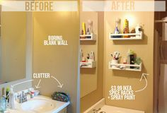 painted spice racks are a resourceful wal to hold makeup or bathroom products - Boost Small Bathroom Space with Space-Saving Solutions from Bathroom Bliss by Rotator Rod