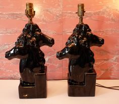 Pair of Vintage Mid Century Black Glazed Unique by TheLampEmporium, $188.00 Table Lamps, Mid Century, Trending Outfits, Unique Jewelry, Handmade Gifts, Etsy, Vintage, Black, Home Decor
