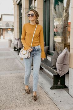 Marigold Bell-Sleeve Sweater Light Wash Girlfriend Jeans Leopard Loafer Mules Ring Saddle Bag Merricks Art Womens Fashion Fall Fashion Mom Jeans - Mom Jeans - Ideas of Mom Jeans Fall Outfits, Casual Outfits, Cute Outfits, Stylish Mom Outfits, Looks Style, Mom Style, Look Fashion, Fashion Outfits, Fashion Trends