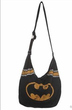 DC COMICS BATMAN logo BLACK super hero HOBO purse punk goth BAG NWT!