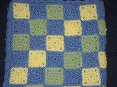 Teri Squares Crochet Baby Blanket, #crafts, #crochet