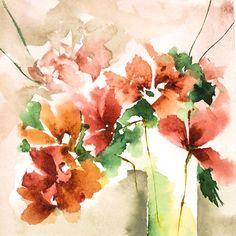 Petit instant N° 255 - Peinture,  15x15 cm ©2014 par Véronique Piaser-Moyen -                                                            Peinture contemporaine, Papier, Fleur, aquarelle, watercolor, piaser, piaser-moyen, fleurs, fleur, flower, flowers