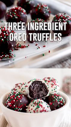 christmas desserts Three ingredient oreo truffles are made with Ore. - christmas desserts Three ingredient oreo truffles are made with Oreo cookies, cream ch - Potluck Desserts, Holiday Desserts, Holiday Baking, No Bake Desserts, Easy Desserts, Holiday Recipes, Dinner Recipes, Holiday Treats, Easy Christmas Baking Recipes