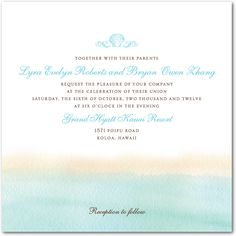 """I love these invitations )On the Horizon:Teal weddingpaperdivas.com) and they even come in a lighter """"seaglass"""" color!"""