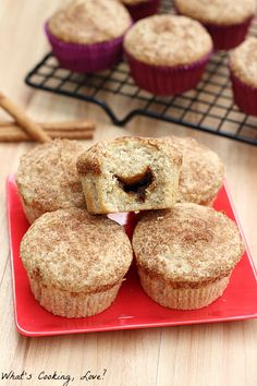Apple Butter Stuffed Cinnamon Muffins and Giveaway - Whats Cooking Love?