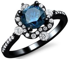 1.20ct Blue Round Diamond Engagement Ring 18k Black Gold 1
