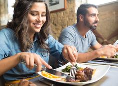 woman eating restaurant