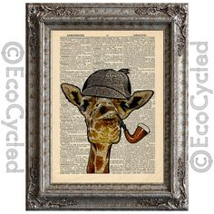 Giraffe Sherlock on Vintage Upcycled Dictionary Page Book Art Print Holmes