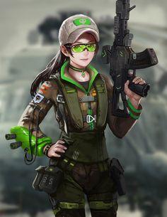 A girl with a gun by yangzheyy on DeviantArt - sekigan Anime Girls, Manga Girl, Anime Art Girl, Anime Military, Military Girl, Female Characters, Anime Characters, Dibujos Tumblr A Color, Character Art