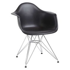 BuyVitra Eames DAR 43cm Armchair, Black / Chrome Online at johnlewis.com