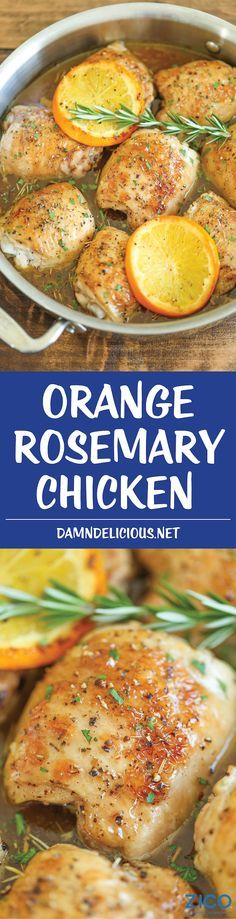 Orange Rosemary Chicken - Crisp-tender chicken, roasted in the most epic, melt-in-your-mouth orange rosemary glaze that youll want to drink! chicken recipes for dinner Turkey Recipes, Fall Recipes, Chicken Recipes, Recipes Dinner, Holiday Recipes, Chicken Meals, Holiday Drinks, Meatball Recipes, Healthy Chicken