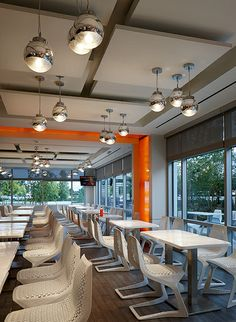 MYTO chairs, design Konstantin Grcic, at Food Court, USA.  http://www.plank.it/product/myto-chair/