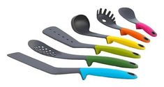 Features weighted handles that elevate the tips of the utensils so they don't touch your counter top. This eliminates mess and improves hygiene. Set of 6 utensils.