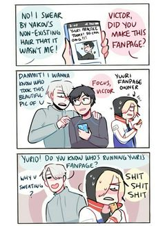 """randomsplashes: """"real talk yurio's probably the biggest yuuri katsuki fan and lowkey runs a fan account (which yuuri and victor somehow find lmao) """" bonus: oops guess he wasn't that lowkey about it. ユーリ!!! On Ice, Ice Ice Baby, Angel Of Death, Jean Jacques Leroy, Viktor X Yuri, Butler, Yuri On Ice Comic, Katsudon, Yuuri Katsuki"""