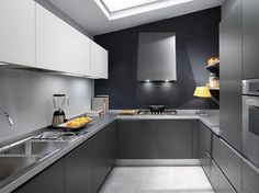 Gray Color Modular Kitchen