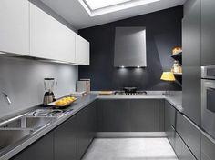 Gray Color Modular Kitchen