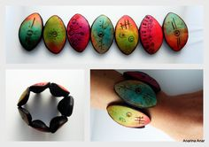 Untitled | Flickr - Photo Sharing! Polymer Clay Bracelet, Polymer Clay Art, Polymer Clay Projects, Polymer Clay Creations, Diy Projects To Try, Bracelets, Bangles, Crafts, Polymers