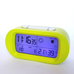 Yellow LED snooze alarm clock with backlight calendar weather station modern digital clock Digital Alarm Clock, Calendar, Weather, Led, Yellow, Modern, Trendy Tree, Life Planner, Weather Crafts