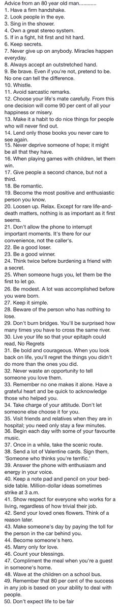"I found this list many years ago, and I am smiling ear to ear right now to see it again. Many of these are the ""secrets"" to my life. I love this MH"