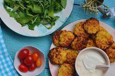 A zöldségfasírtok olcsók, gyorsan elkészülnek és még finomak is.  Összegyűjtöttük a kedvenc receptjeinket. Quiche Muffins, Recipe Mix, Fritters, Fruits And Vegetables, Tofu, Feta, Cauliflower, Food To Make, Side Dishes