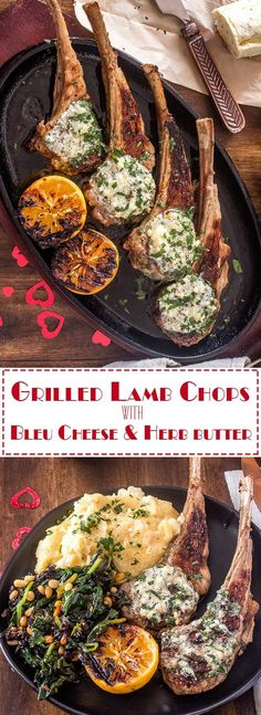 Grilled Lamb Chops With Bleu Cheese and Herb Butter will certainly tantalize the senses, and is a perfect main course for your romantic Valentine's dinner at home. Of course, it is also elegant enough for a dinner party, and while this recipe is written for two, it is an easy one to scale up! Valentine's Day Dinner for Two | Grilled Lamb Chops | Lamb and Bleu Cheese Butter | Low Carb Lamb Recipes | Dinner for Two | Lamb and Spinach | Roman Style Recipes via @TamaraBMS