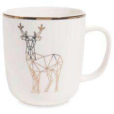 Mug motif cerf en porcelaine    - Vendu par 2