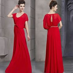 Designer Red Chiffon Cap Sleeve Boho Chic Evening Ball Gown Event Dress SKU-122858
