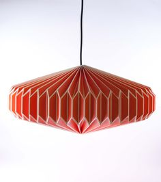 Gorgeous retro style orange origami lampshade from Dowsing & Reynolds