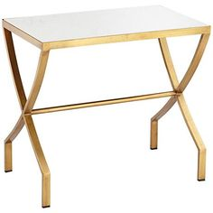 A white faux marble top rectangular side table with beautiful antique gold finish.