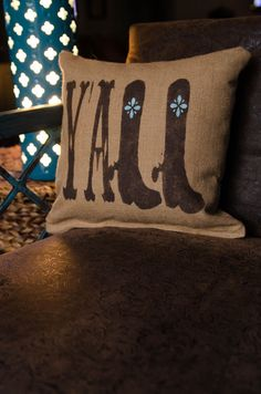 "Southern Inspired ""Y'All"" Rustic Burlap Throw Pillow on Etsy"