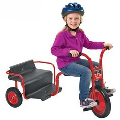 Haul your friends around with the ClassicRider® Rickshaw. Perfect for children ages 3-8, it's red powder-coated frame adds a sleek look to any daycare center. The non-exposed pedal hardware and recessed no-pinch welded crank means extra safety! Visit www.noahsplay.com for more! #trikes #scooters