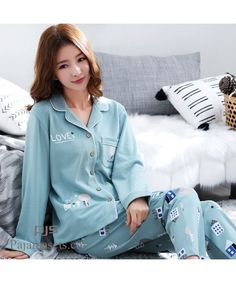 c37655181ad Long Sleeve Women s Cotton Pyjama sets for spring Korean Open Shirt Full sleepwear  sets female