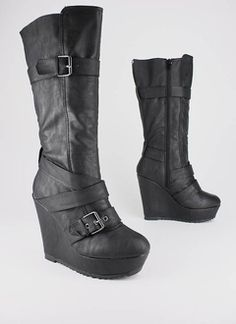 leatherette buckle wedge boot