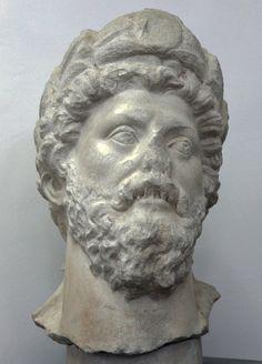 Emperor Marcus Aurelius, head of Roman statue (marble), 2nd century AD, (Archaeological Museum, Amman).