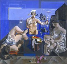 """Composició amb tres figures. """"Acadèmia neocubista"""" El mariner. Acadèmia neocubista  1926 Oli / tela 190 x 200 cm Museu de Montserrat, Montserrat (Barcelona)"""
