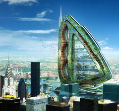 Dragonfly vertical farm is a concept urban farm specially designed for the Roosevelt Island of New York City