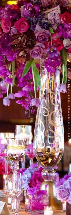 Pink and purple tall wedding centerpiece idea
