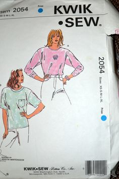 Sewing Pattern Kwik Sew 2054 Misses' Shirts Size XS-XL Bust 31-45  inches  Uncut Complete by GoofingOffSewing on Etsy
